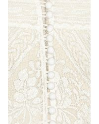 Lover - White Lace Overlay Silk Gown - Lyst