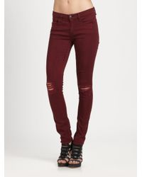 Rag &amp bone Ripped Skinny Jeans in Red | Lyst