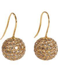 Shamballa Jewels - Metallic Brown Pave Diamond Gold Ball Drop Earrings - Lyst