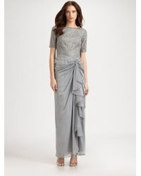 Tadashi Shoji - Gray Leaf Lace Gown - Lyst