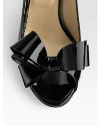 Valentino | Black Patent Leather Peep Toe Bow Pumps | Lyst