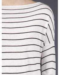Vince - White Striped Boatneck Shirt - Lyst