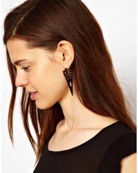 ASOS - Metallic Arrow Through Earrings - Lyst