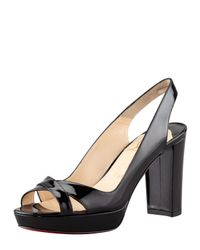 Christian Louboutin | Black Patent Leather Platform Slingbacks | Lyst