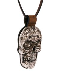 DIESEL - Black Askula Portachiavi Skull Necklace for Men - Lyst