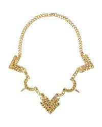 Fallon | Metallic Old Gold Rigid Bib Necklace | Lyst