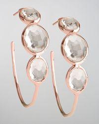 Ippolita - Multicolor Rose Clear Quartz Hoop Earrings - Lyst