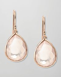 Ippolita - Pink Singledrop Rose Gold Earrings Clear Quartz - Lyst