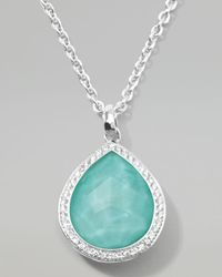 Ippolita | Metallic Stella Teardrop Pendant Necklace In Turquoise Doublet With Diamonds | Lyst