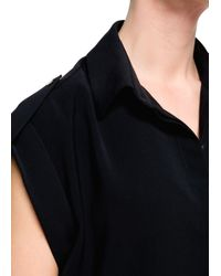 Mango | Black Ribbed Jersey Dress | Lyst