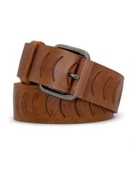 Mango - Brown Notched Leather Belt for Men - Lyst