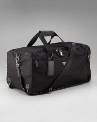 Prada | Black Rolling Nylon Duffel Bag for Men | Lyst
