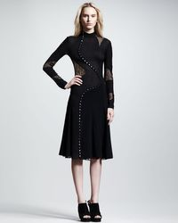 Proenza Schouler   Black Long Sleeve Pieced Dress   Lyst