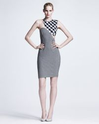 Stella McCartney - Blue Ontoured Mesh-inset Gingham Sheath Dress - Lyst