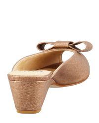 Stuart Weitzman - Brown Candy Shimmery Linen Slipon Wedge Copper - Lyst
