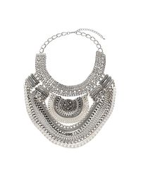 TOPSHOP - Metallic Multirow Chain Drape Collar - Lyst