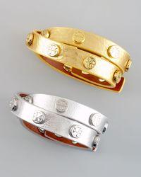 Tory Burch | Metallic Logo-studded Bracelet | Lyst