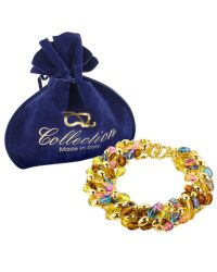 AZ Collection - Multicolor Bead Strands Gold Plated Necklace - Lyst