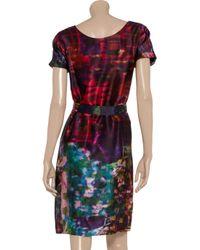 Erdem | Red Anneli Printed Silk Dress | Lyst