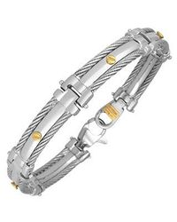 FORZIERI - Metallic Difulco Line Gold Screw Stainless Steel Link Bracelet for Men - Lyst
