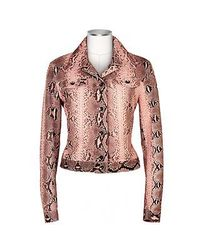 FORZIERI - Pink Python Leather Button Front Jacket - Lyst