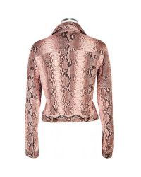 FORZIERI | Pink Python Leather Button Front Jacket | Lyst