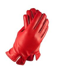 FORZIERI | Women's Stitched Cashmere Lined Red Italian Leather Gloves | Lyst