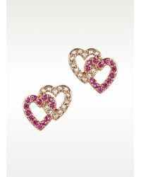 Juicy Couture | Pink Pave Double Heart Stud Earrings | Lyst
