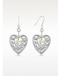 Just Cavalli - Metallic Deco Heart Drop Earrings - Lyst