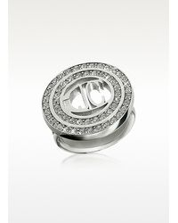 Just Cavalli | Metallic Rolly - Crystal Logo Ring | Lyst