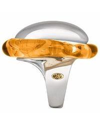 Masini | Metallic Vanita' - Amber Sterling Silver Oval Ring | Lyst