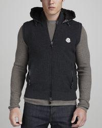 Moncler   Black Knitfront Puffer Vest for Men   Lyst