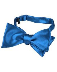 FORZIERI - Sky Blue Solid Silk Self-tie Bowtie for Men - Lyst