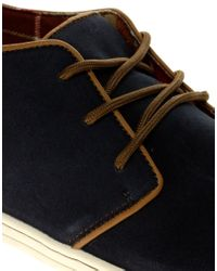 River Island | Blue Suede Piped Desert Boots for Men | Lyst