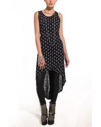 AKIRA - Black Cross Print Hooded Racerback Dress - Lyst