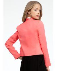 Bebe - Pink Collarless Blazer - Lyst