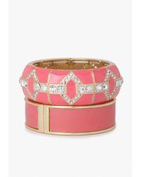 Bebe | Pink Enamel Crystal Stretch Bracelet Set | Lyst