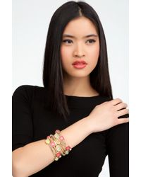 Bebe - Multicolor Multi Color Faceted Stone Bangle Set - Lyst