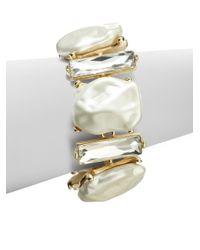 Kenneth Jay Lane - Gray Crystal Faux Pearl Bracelet - Lyst