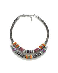 Zara | Metallic Silver Plated Necklace with Fabric Pieces | Lyst