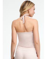 Bebe - Pink Silk Halter Bodysuit - Lyst