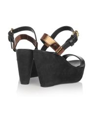 Acne Studios | Brown Estelle Leather and Suede Platform Sandals | Lyst