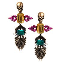 ASOS Collection - Multicolor Skull Jewelled Drop Earrings - Lyst