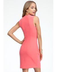 Bebe | Pink Crepe Pleated Asymmetric Dress | Lyst