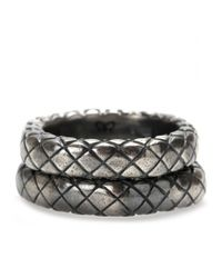 Bottega Veneta Gray Intrecciato Ring Set
