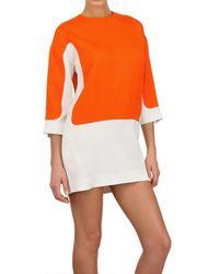 Céline - White Color Block Viscose Cady Dress - Lyst