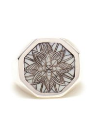 Duffy | Metallic Sterling Silver Engraved Signet Ring | Lyst