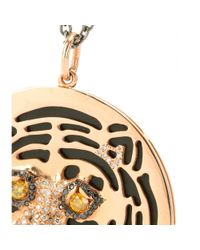 Ileana Makri | Metallic 18kt Rose Gold African Tiger Necklace With Onyx And Black, Yellow And Brown Diamonds | Lyst