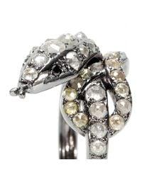 Ileana Makri - Metallic Whispered Snake 18kt Oxidized White Gold Ring With Rose Cut Coated Grey And Black Diamonds - Lyst