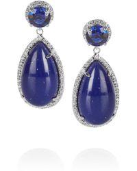Kenneth Jay Lane - Blue Rhodiumplated Cubic Zirconia Drop Earrings - Lyst
